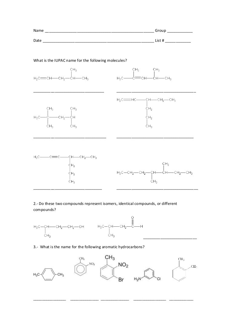 Organic Chemistry Worksheet with Answers Worksheet 3 Alkenes Alkynes
