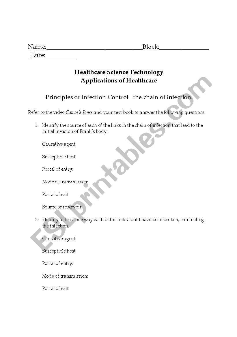 Osmosis Jones Video Worksheet Answers English Worksheets Chain Of Infection Osmosis Jones Video