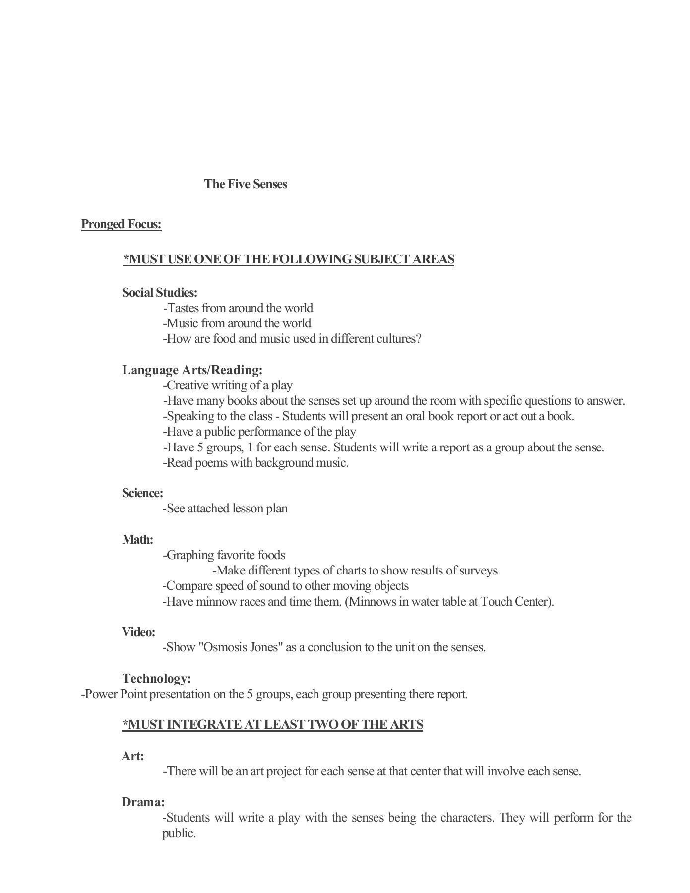 Osmosis Jones Video Worksheet Answers the Five Senses Pronged Focus Must Use One Of the
