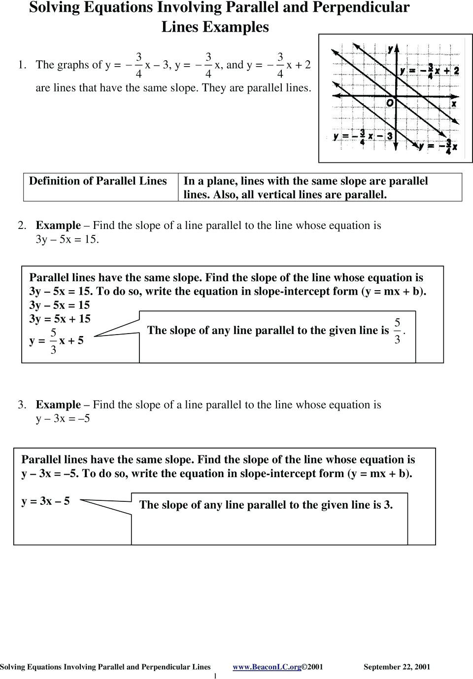 Parallel and Perpendicular Lines Worksheet Parallel and Perpendicular Equations Worksheet