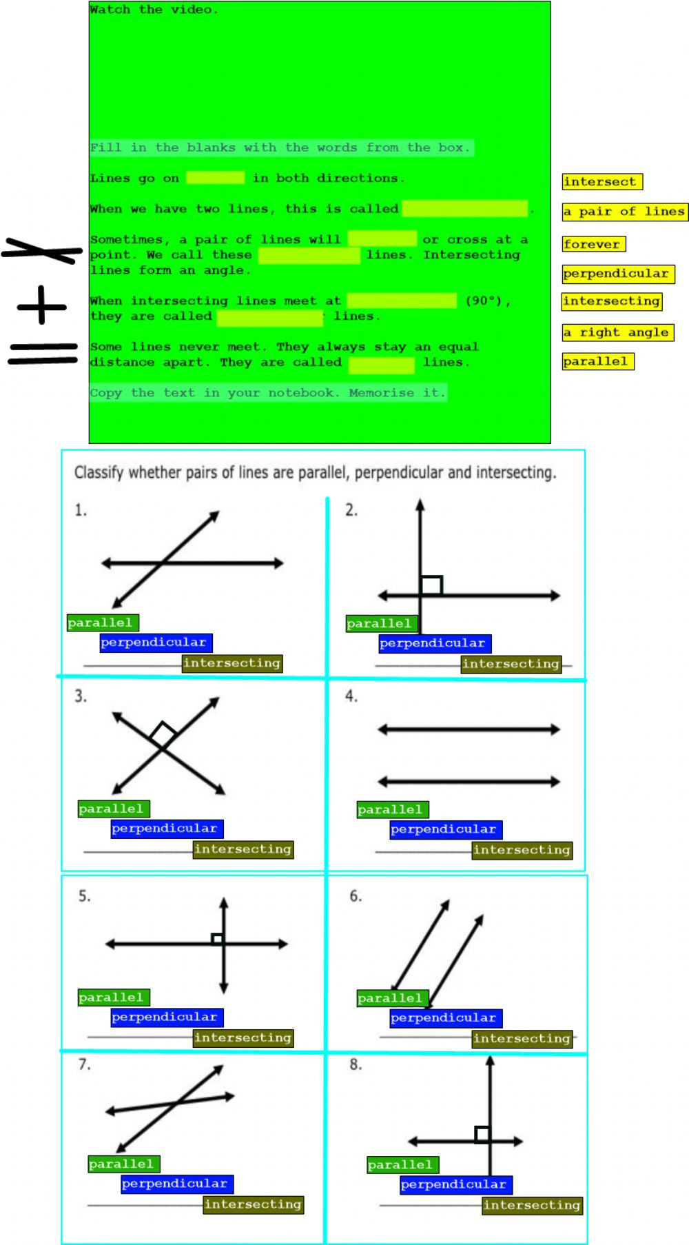 Parallel and Perpendicular Lines Worksheet Parallel Intersecting and Perpendicular Lines Interactive