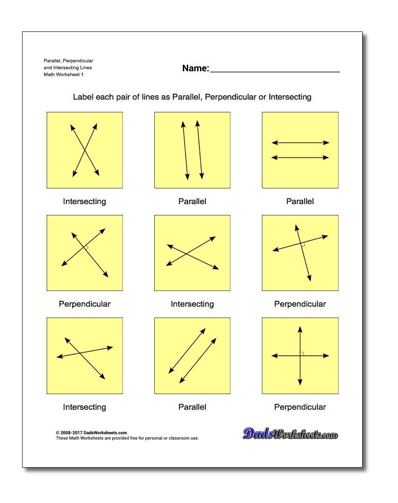 Parallel and Perpendicular Lines Worksheet Parallel Perpendicular and Intersecting Lines Basic
