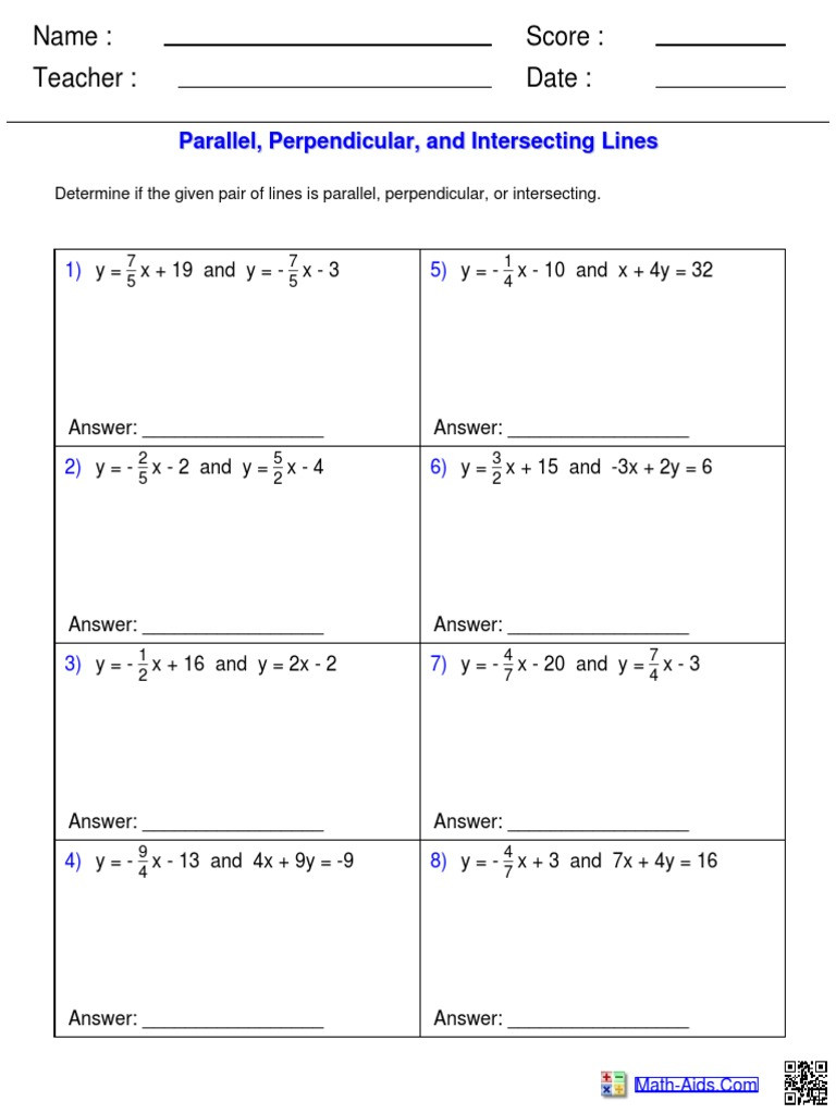 Parallel and Perpendicular Lines Worksheet Parallel Perpendicular and Intersecting Lines Worksheet