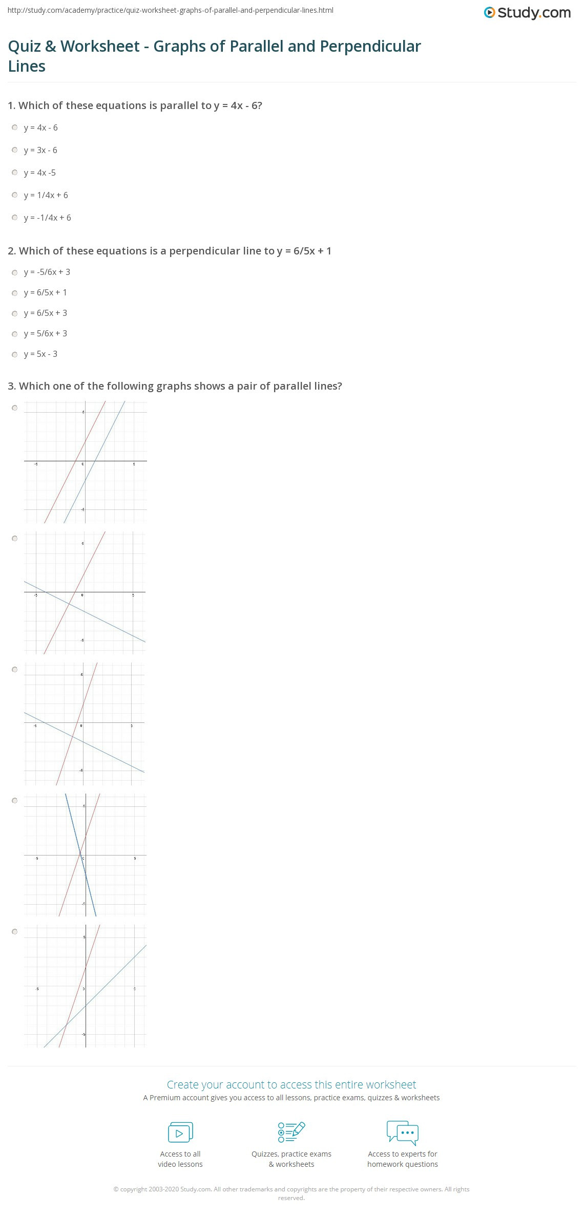 Parallel and Perpendicular Lines Worksheet Quiz & Worksheet Graphs Of Parallel and Perpendicular