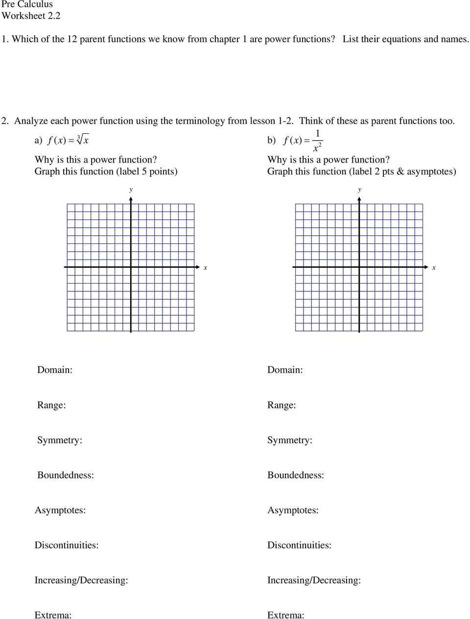 Parent Function Worksheet Answers 1 which Of the 12 Parent Functions We Know From Chapter 1