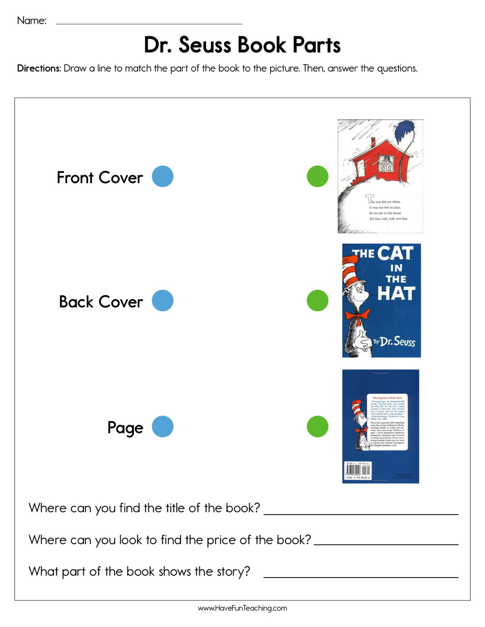 Parts Of A Book Worksheet Dr Seuss Book Parts Worksheet