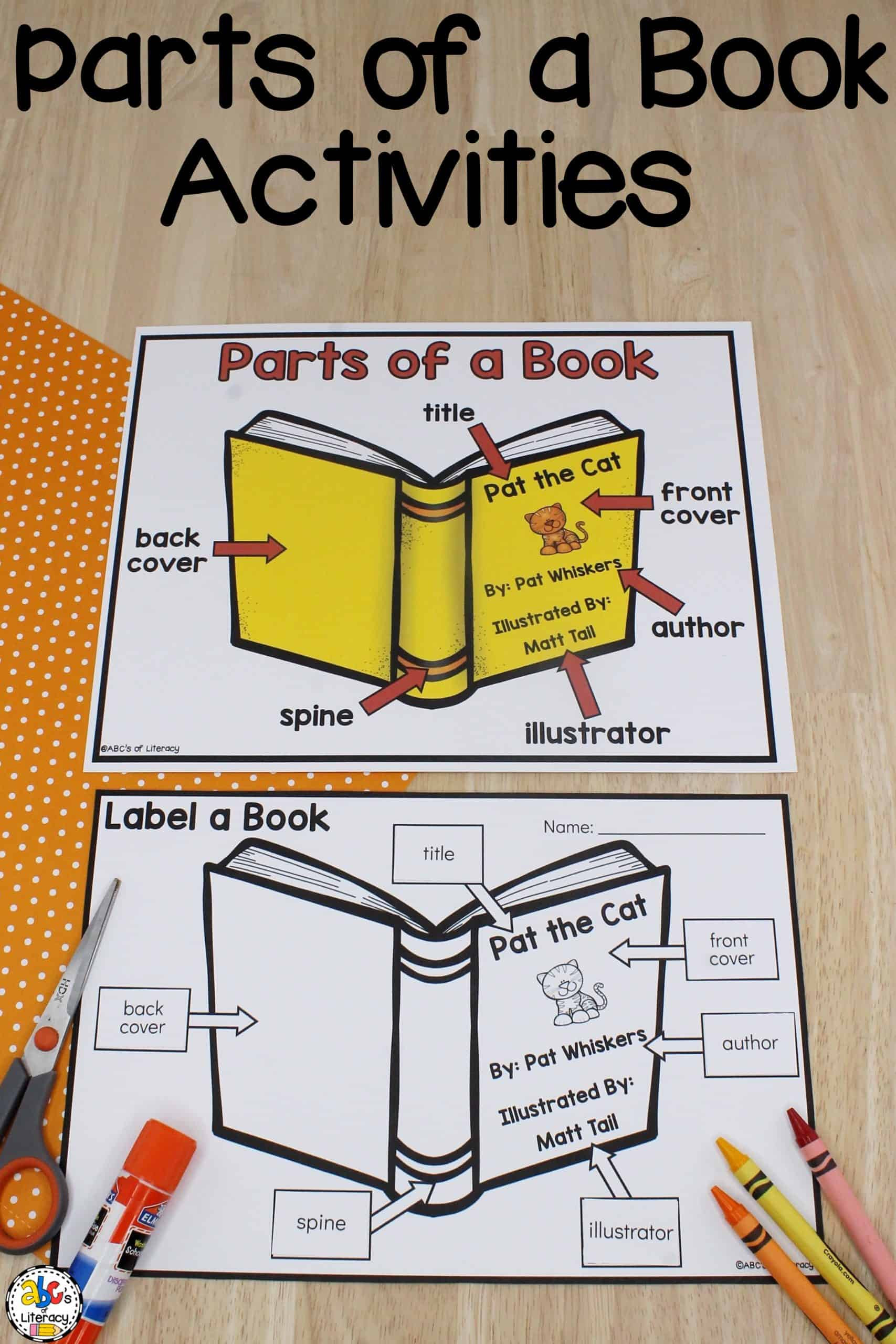 Parts Of A Book Worksheet Parts Of A Book Poster & Worksheet Concepts Of Print Resources