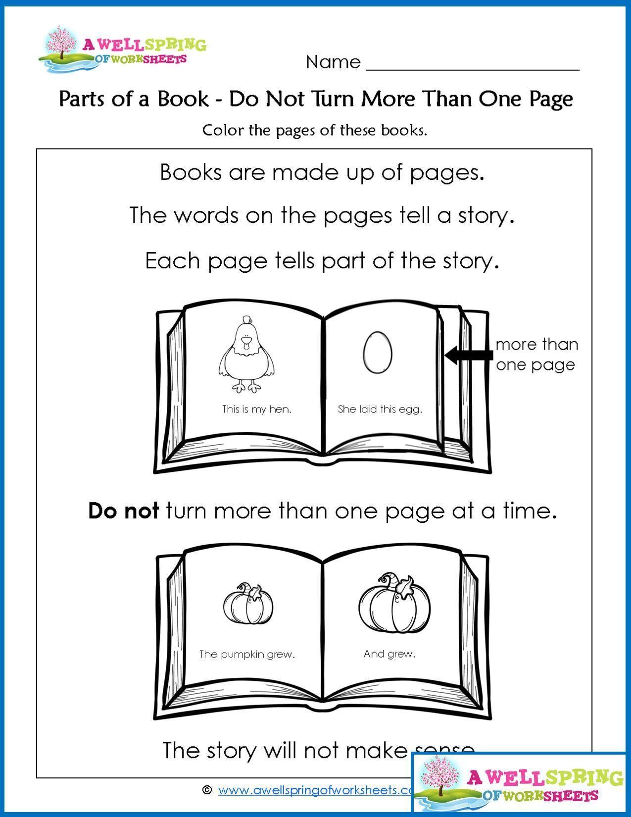 Parts Of A Book Worksheet Parts Of A Book Worksheets & Vocabulary Cards