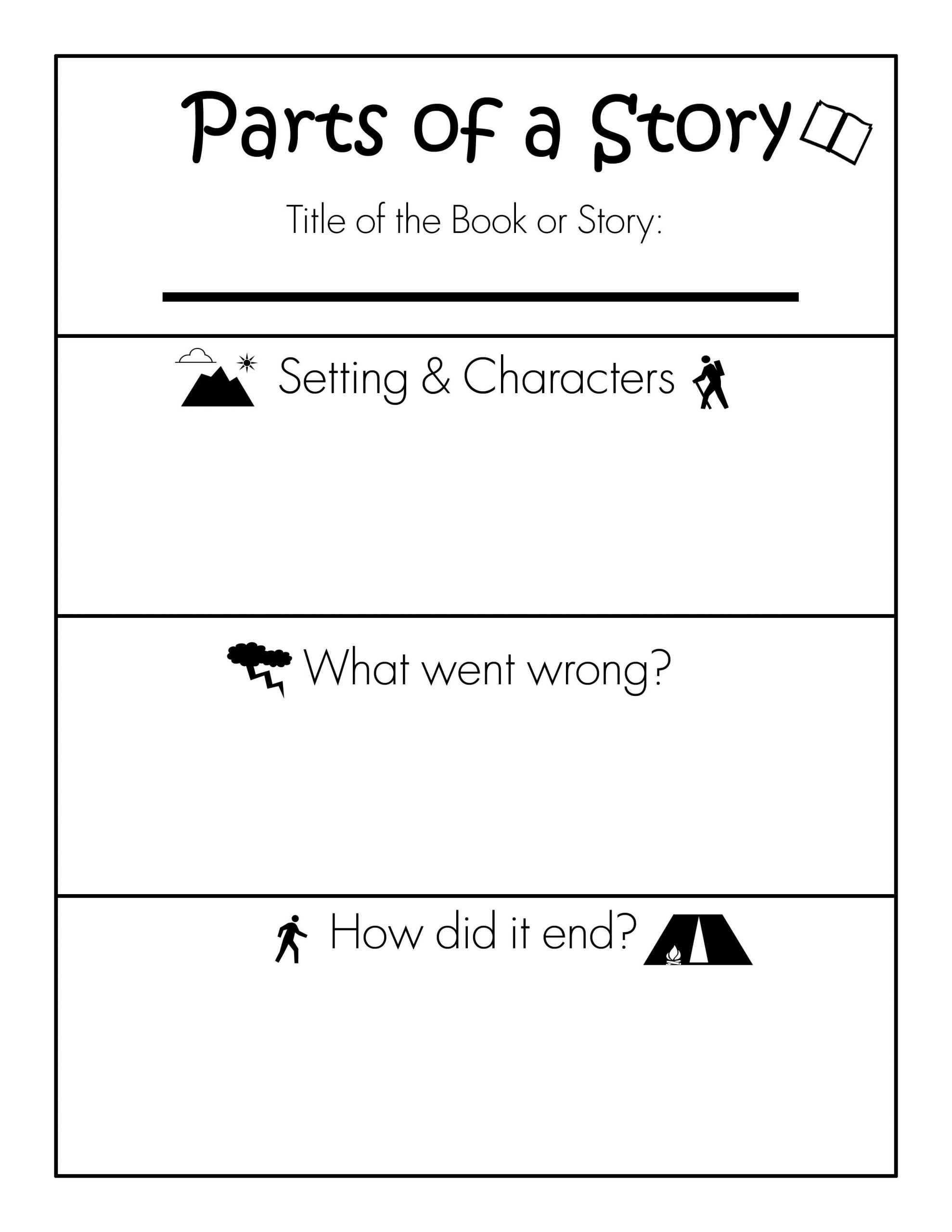 Parts Of A Book Worksheet Parts Of A Story Free Printable Worksheet