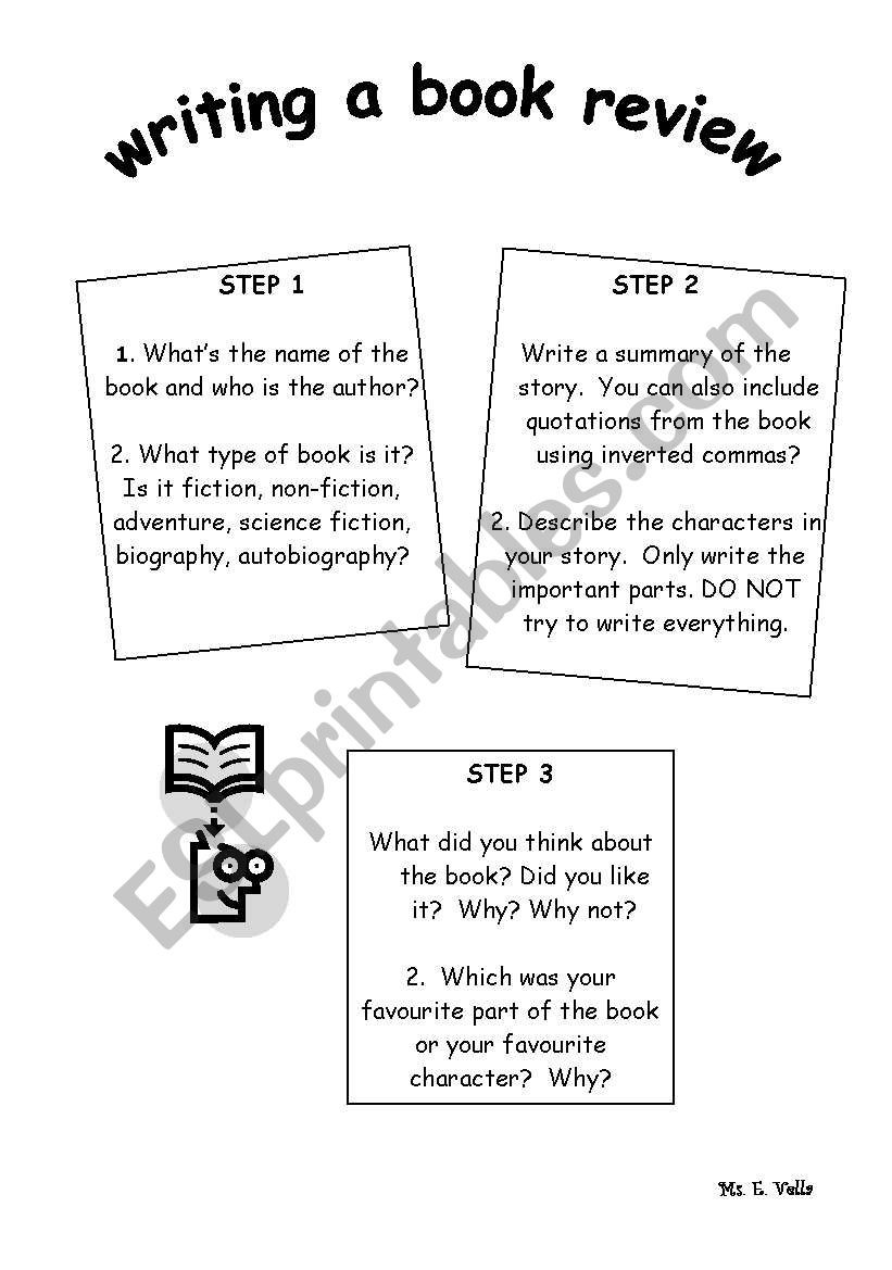 Parts Of A Book Worksheet Writing A Book Review Esl Worksheet by Edithv