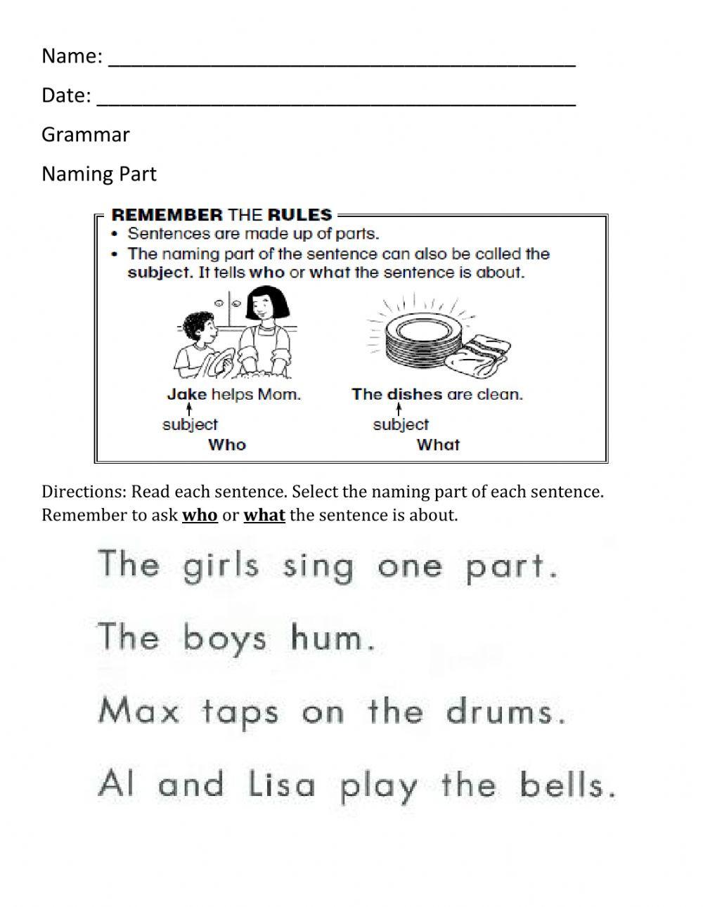 Parts Of A Sentence Worksheet Naming Part Worksheet 1 Interactive Worksheet