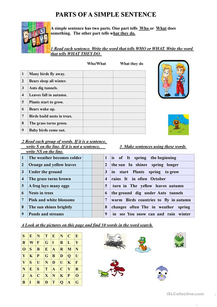 Parts Of A Sentence Worksheet Parts Of A Simple Sentence English Esl Worksheets for