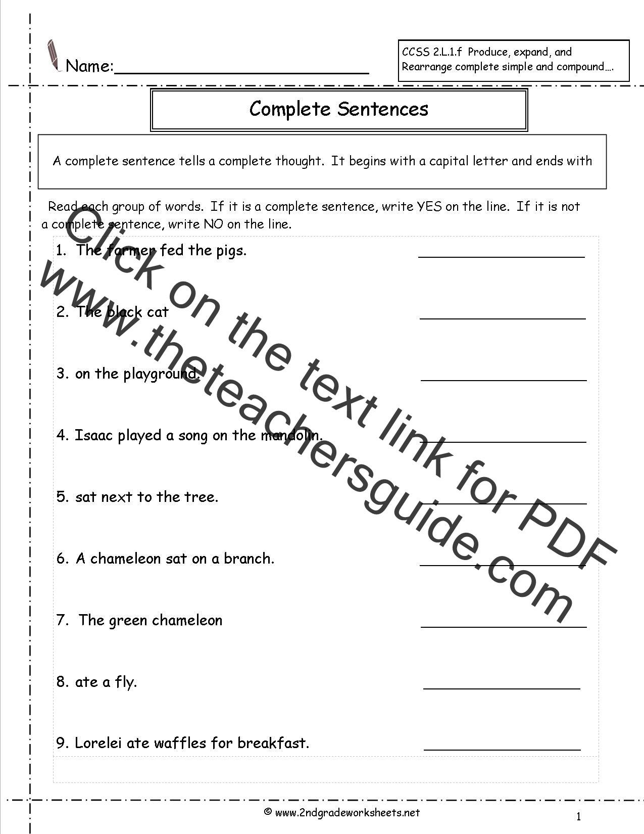 Parts Of A Sentence Worksheet Second Grade Sentences Worksheets Ccss 2 L 1 F Worksheets