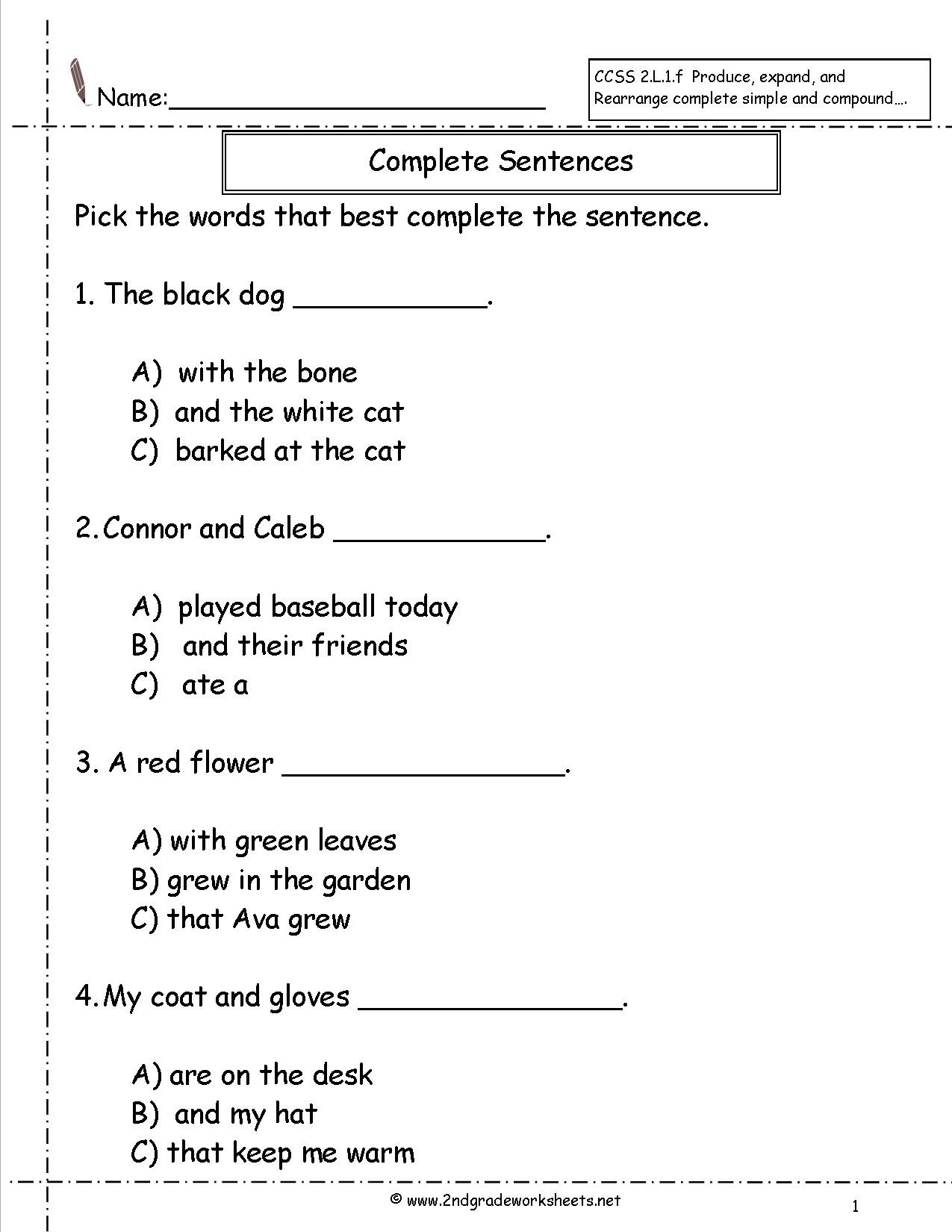 Parts Of A Sentence Worksheet Second Grade Sentences Worksheets Ccss English to Plete