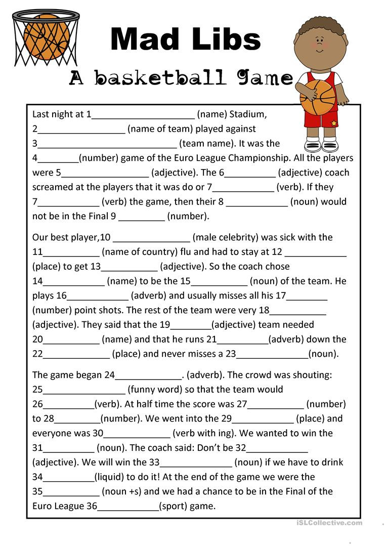 Parts Of Speech Review Worksheet Mad Libs Basketball Game English Esl Worksheets for