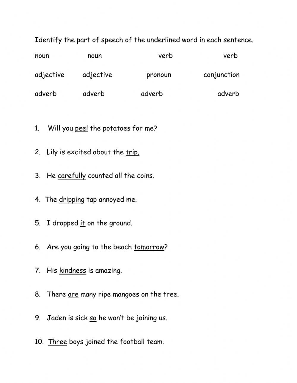 Parts Of Speech Review Worksheet Parts Of Speech Interactive Worksheet