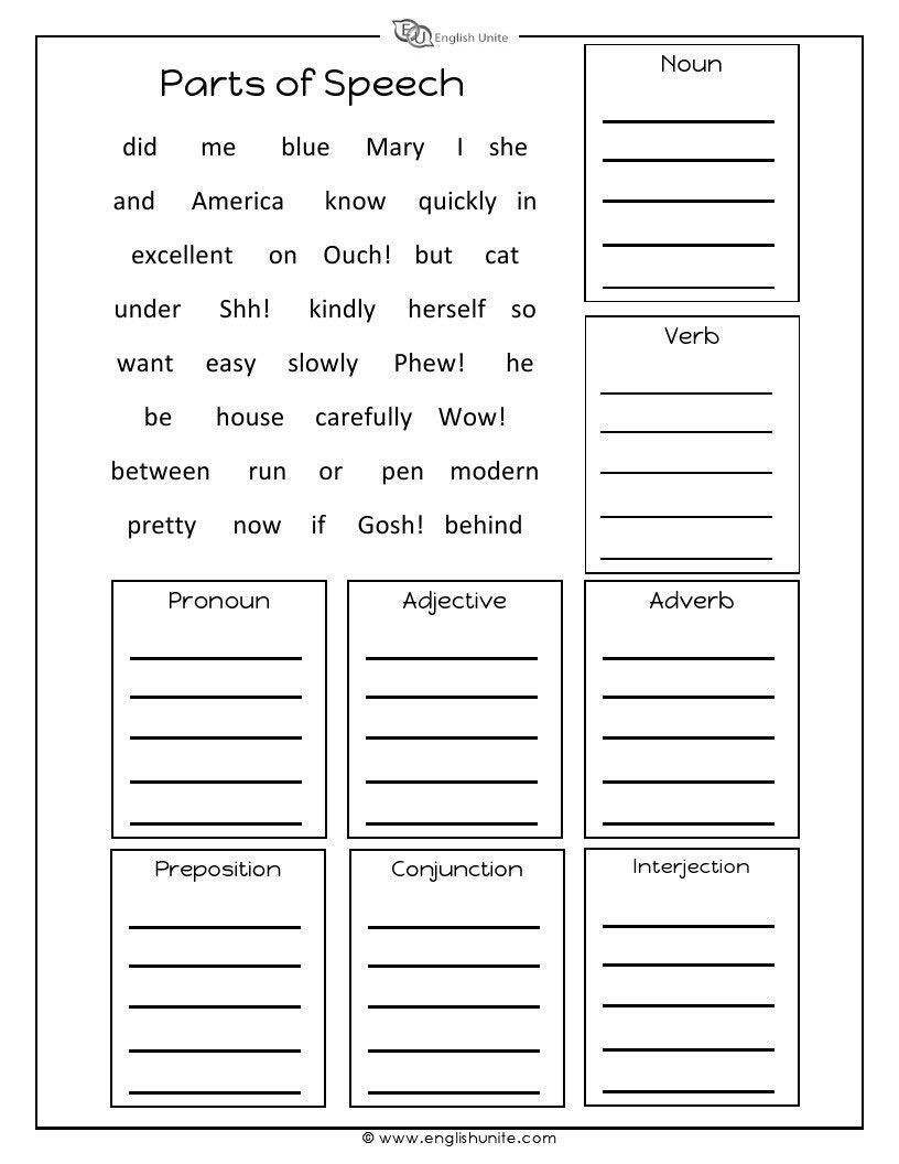 Parts Of Speech Review Worksheet Parts Of Speech Worksheet English Unite