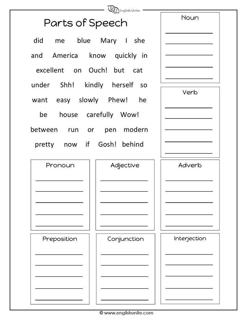 Parts Of Speech Review Worksheet Parts Speech Worksheet English Unite Worksheets Find the