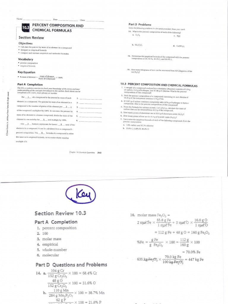 10 3 Percent position Chemical Formulas Answer Key Answers