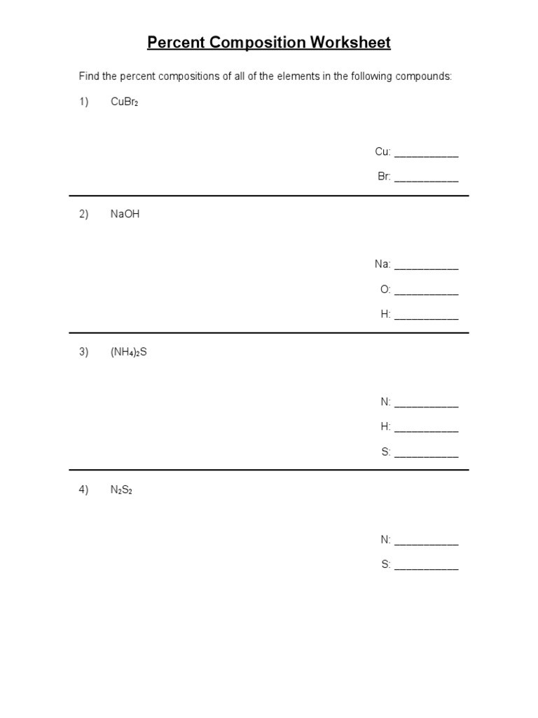 Percent Composition Worksheet Answers 9 Percent Position Practice Ws Chemical formula