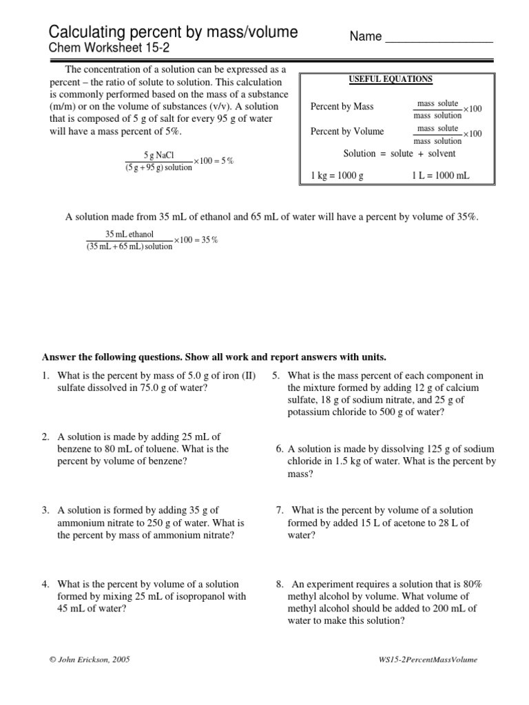 Percent Composition Worksheet Answers Calculating Percent by Mass Volume Chem Worksheet 15 2