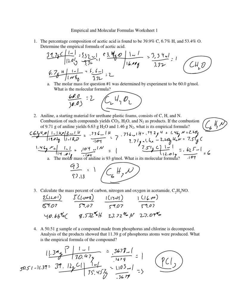 Percent Composition Worksheet Answers Chapter 8 Empirical and Molecular formulas Worksheet 1 Key Pdf