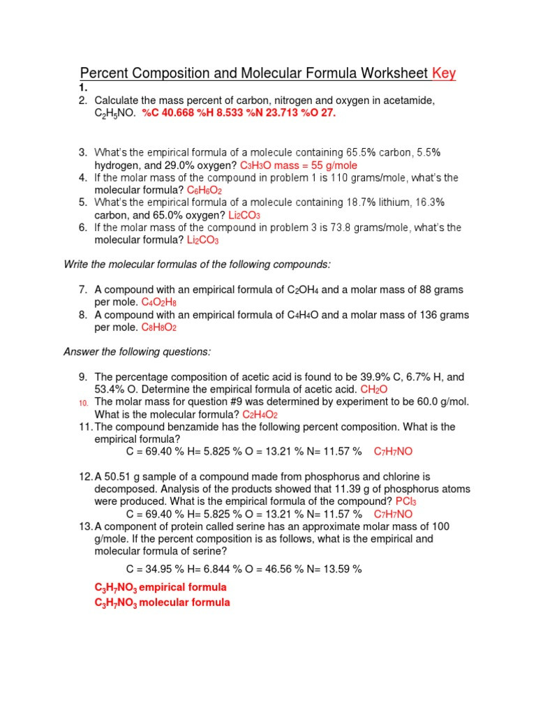 Percent Composition Worksheet Answers Percent Position and Molecular formula Worksheet Key