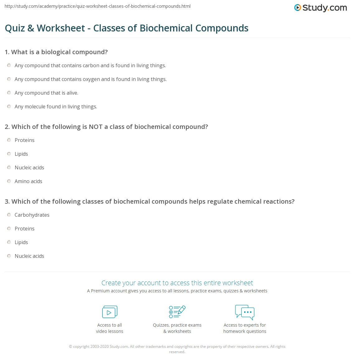 Percent Composition Worksheet Answers Quiz & Worksheet Classes Of Biochemical Pounds