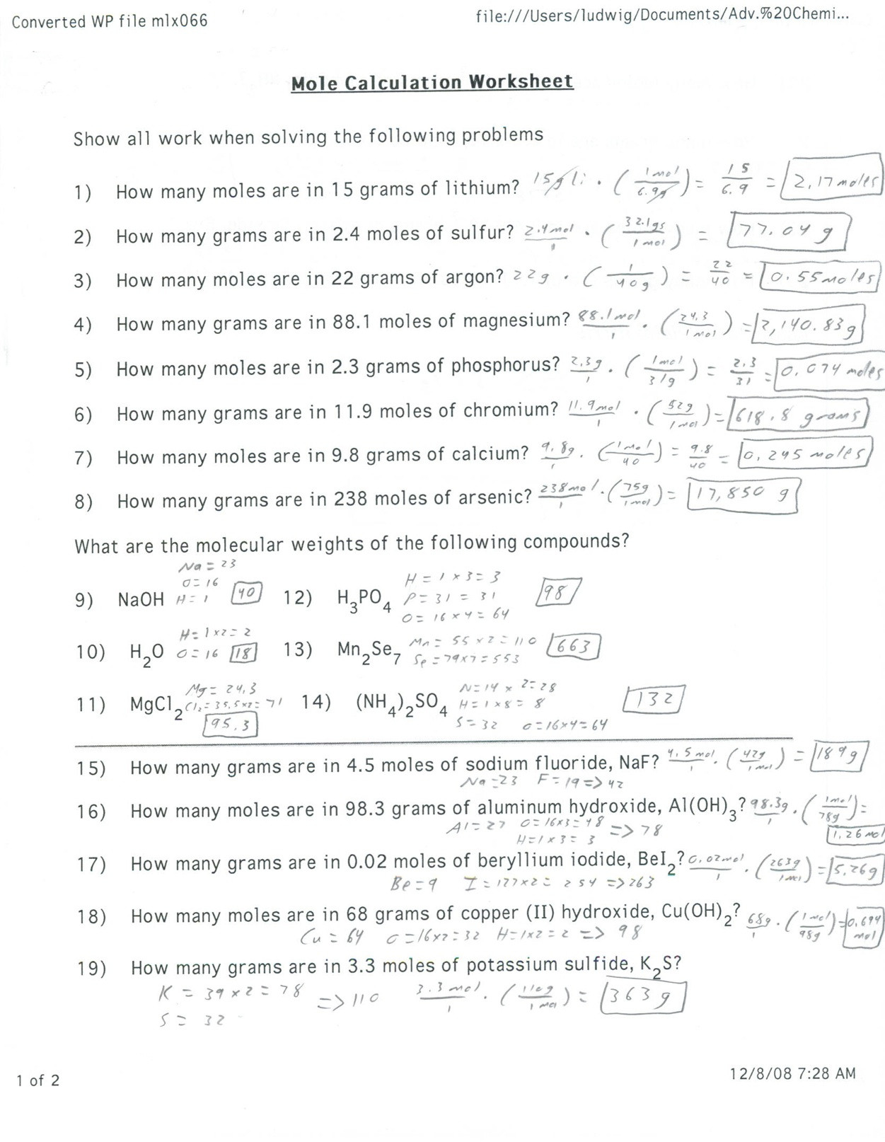 Percent Composition Worksheet Answers Worksheet 22 Percent Position Calculations