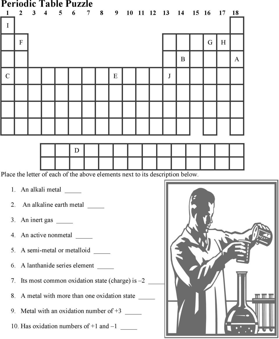 Periodic Table Puzzle Worksheet Answers Periodic Table Puzzle I Pdf Free Download