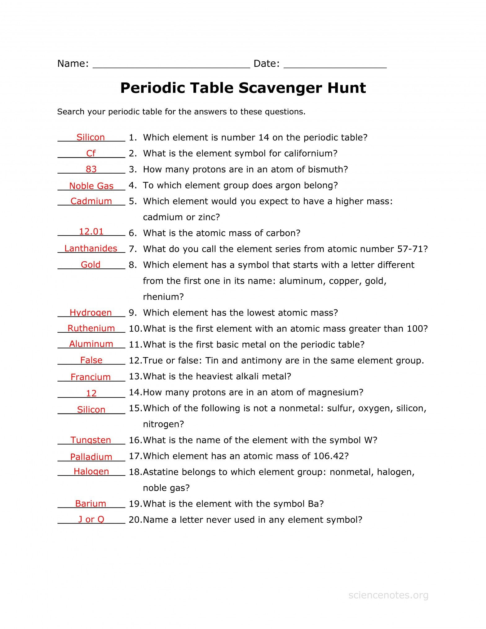 Periodic Table Webquest Worksheet Answers isotope Practice Worksheet Answers