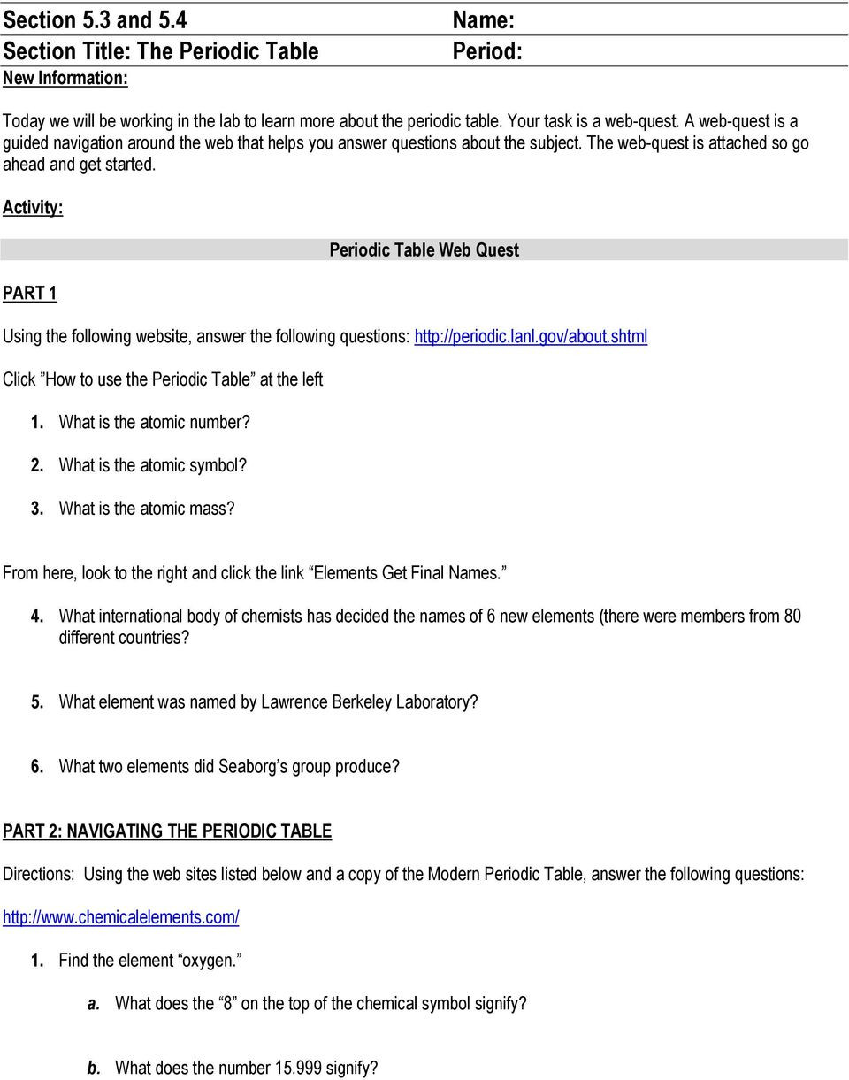 Periodic Table Webquest Worksheet Answers Section 5 3 and 5 4 Section Title the Periodic Table New