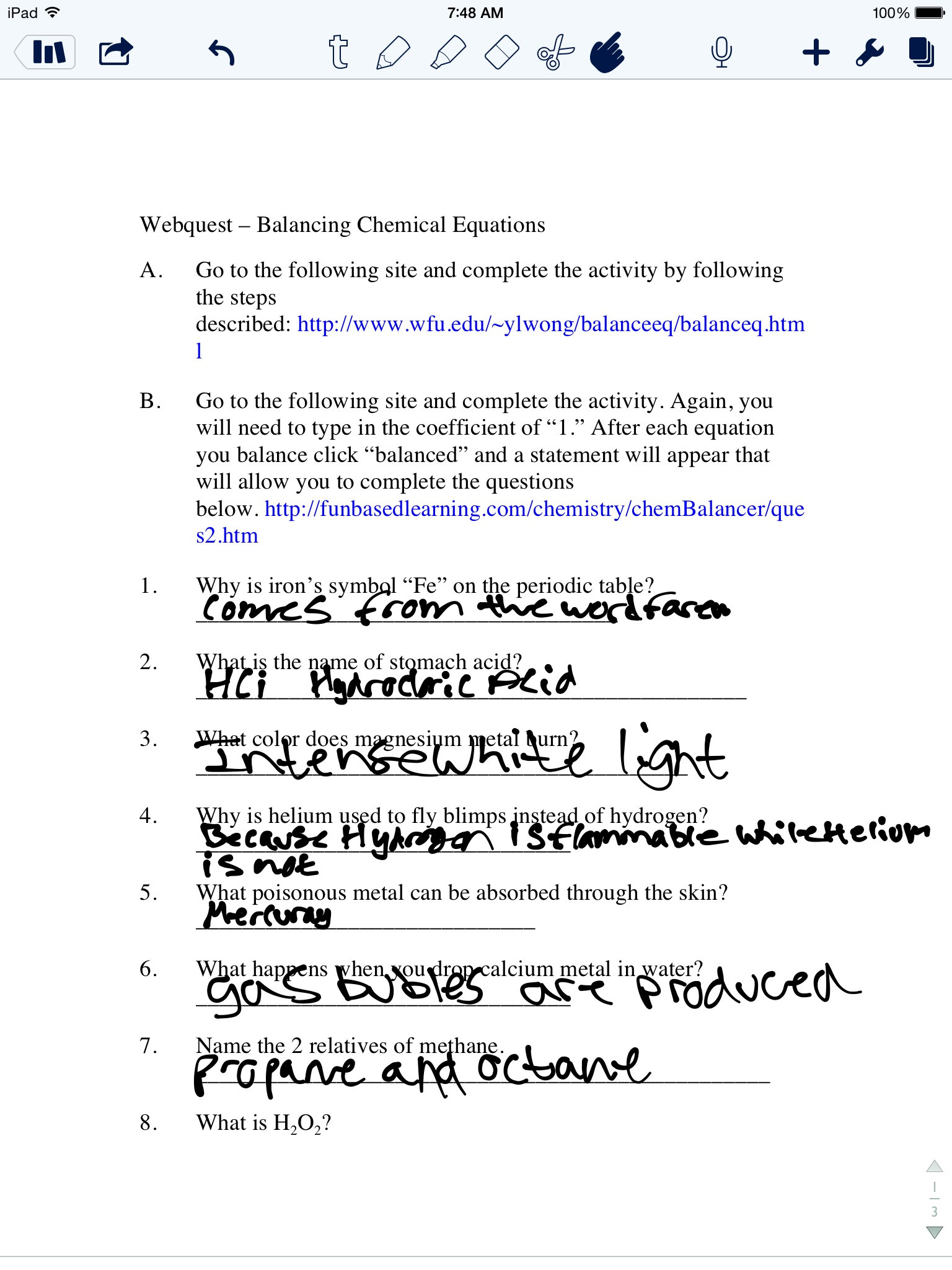 Periodic Table Webquest Worksheet Answers Web Quest Balancing Chemical Equations Mrs Slavens Chemistry