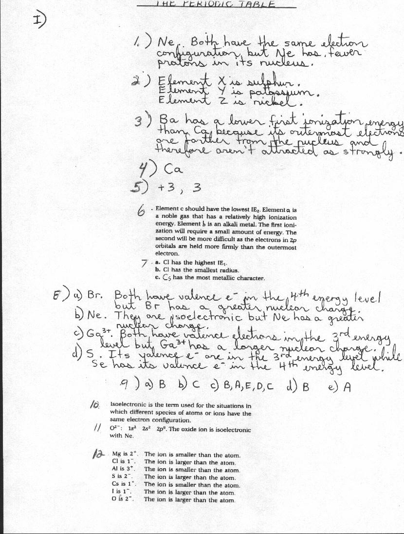 Periodic Trends Worksheet Answer Key atomic Structures and Properties