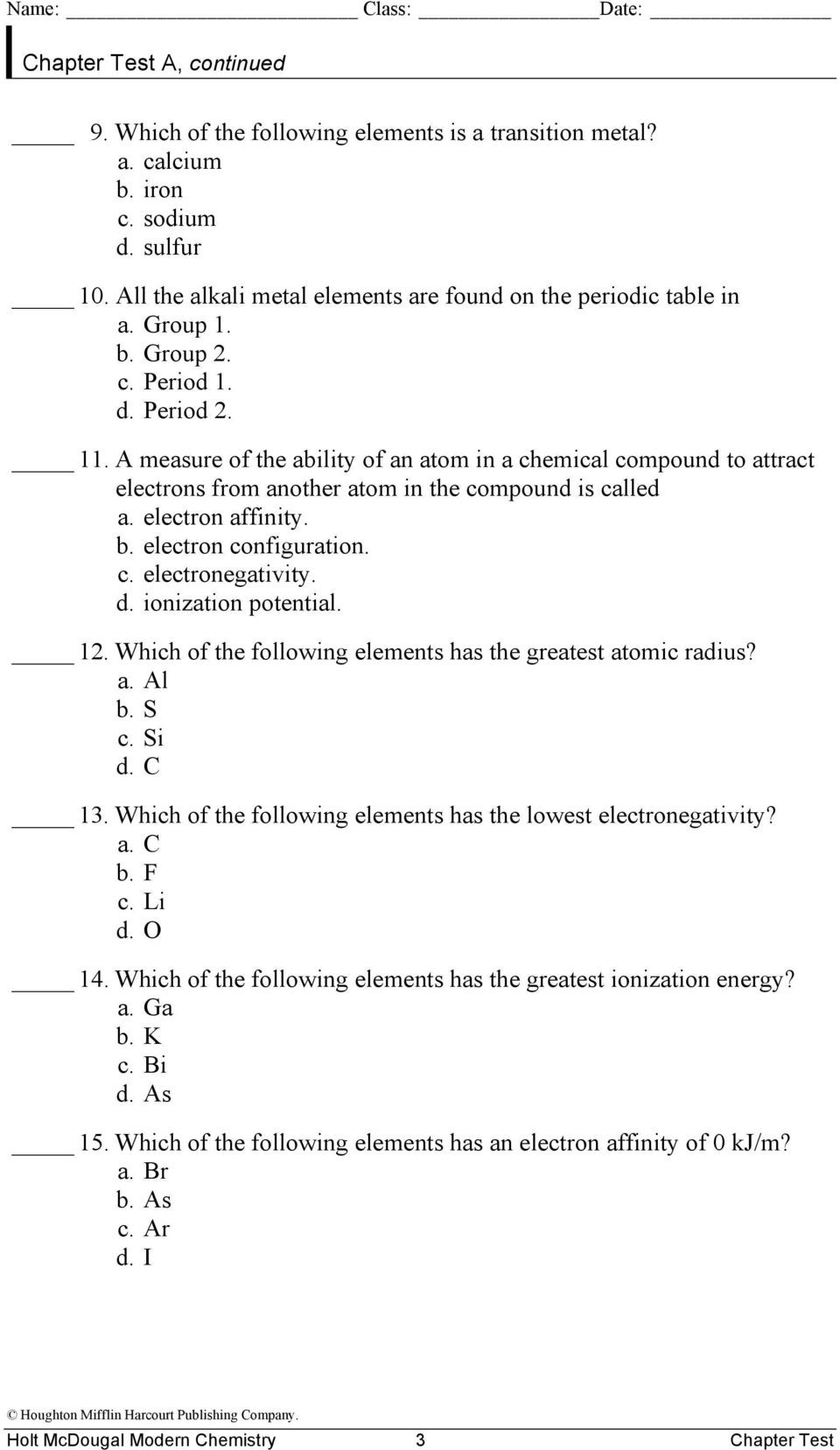 Periodic Trends Worksheet Answer Key Chapter Test Teacher Notes and Answers 5 the Periodic Law