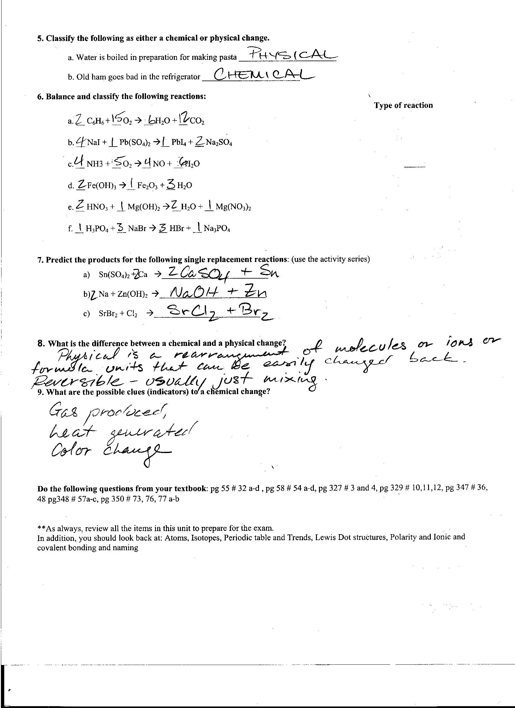 Periodic Trends Worksheet Answer Key Chemistry Unit 10 Worksheet 2 Periodic Trends