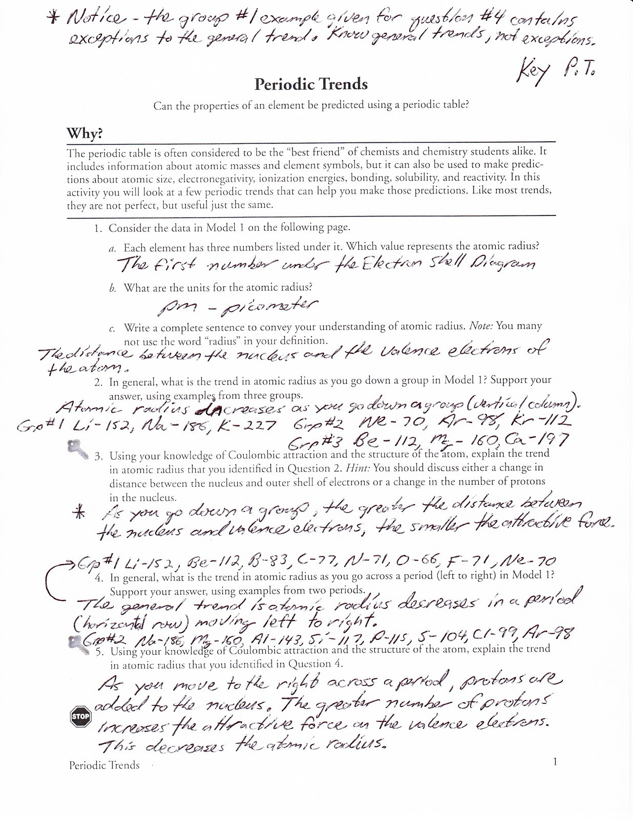 Periodic Trends Worksheet Answer Key Periodic Trends Worksheet and Answers
