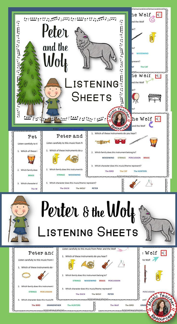 Peter and the Wolf Worksheet Music Appreciation Peter and the Wolf Music Listening