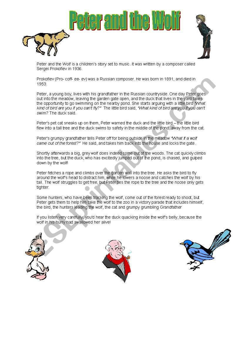 Peter and the Wolf Worksheet Peter and the Wolf Esl Worksheet by Jennymorton