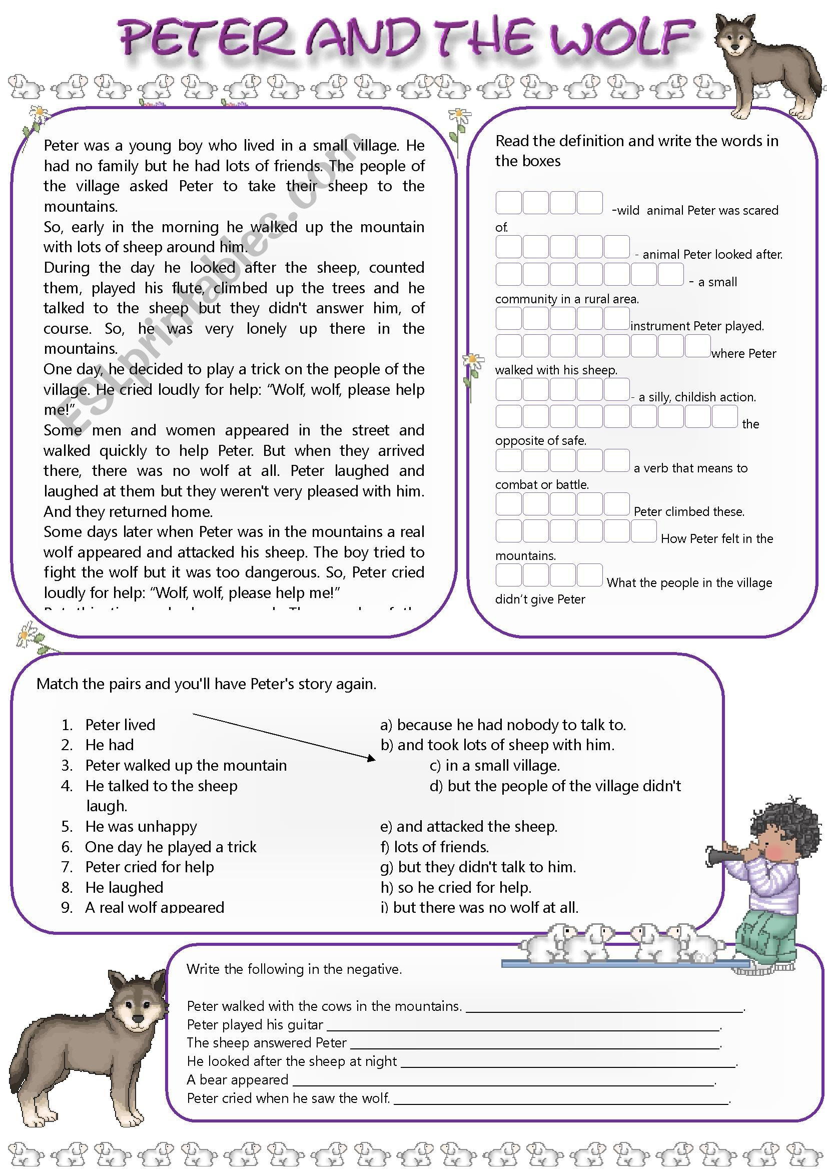 Peter and the Wolf Worksheet Peter and the Wolf Esl Worksheet by Mandysantos