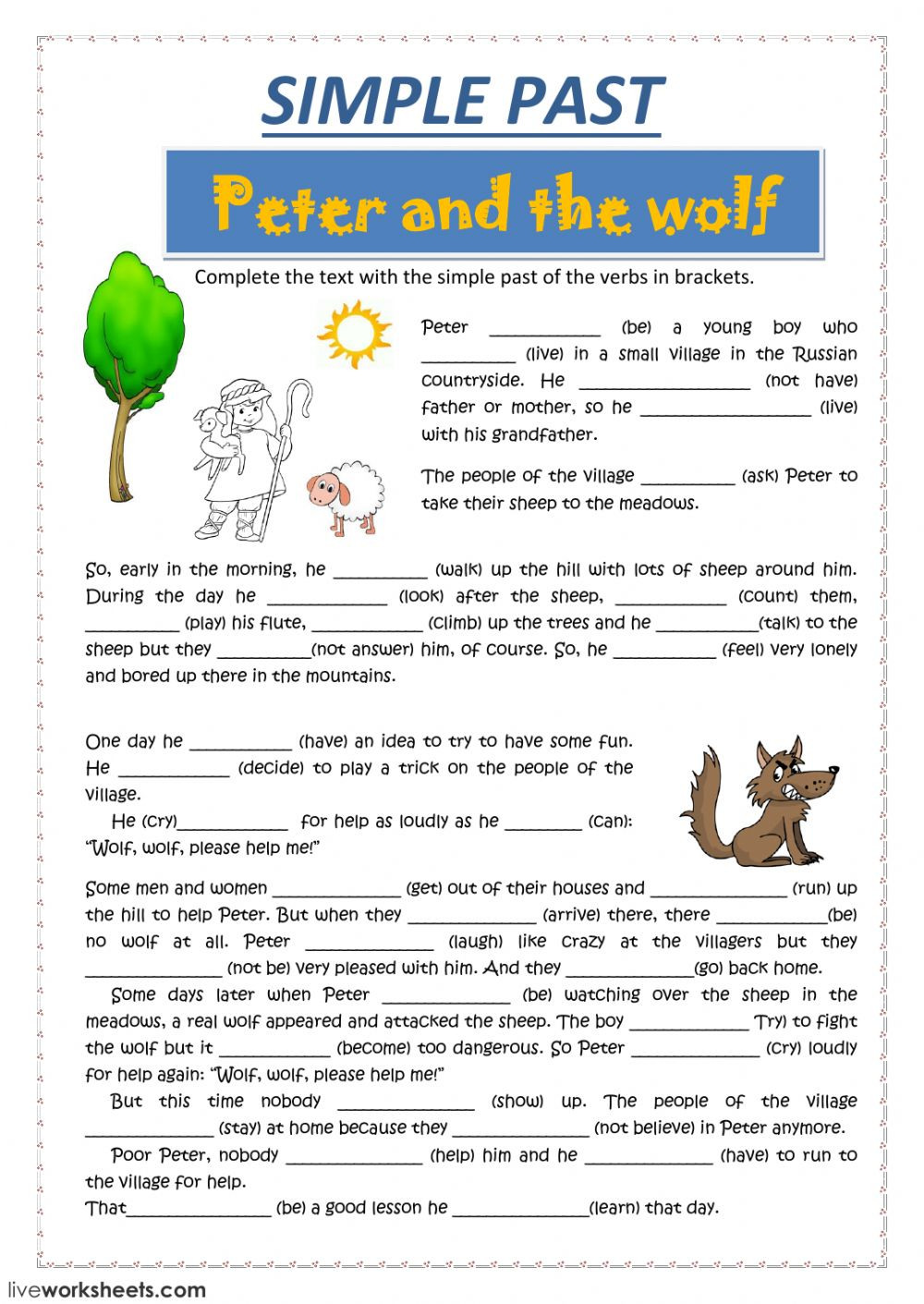Peter and the Wolf Worksheet Peter and the Wolf Interactive Worksheet