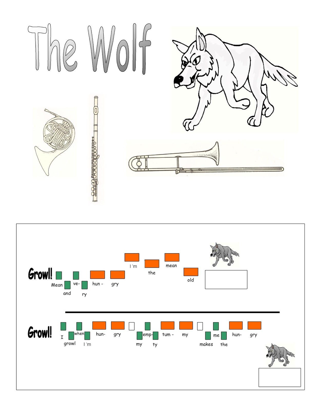 Peter and the Wolf Worksheet Peter and the Wolf Lesson 2 Learning the themes and the
