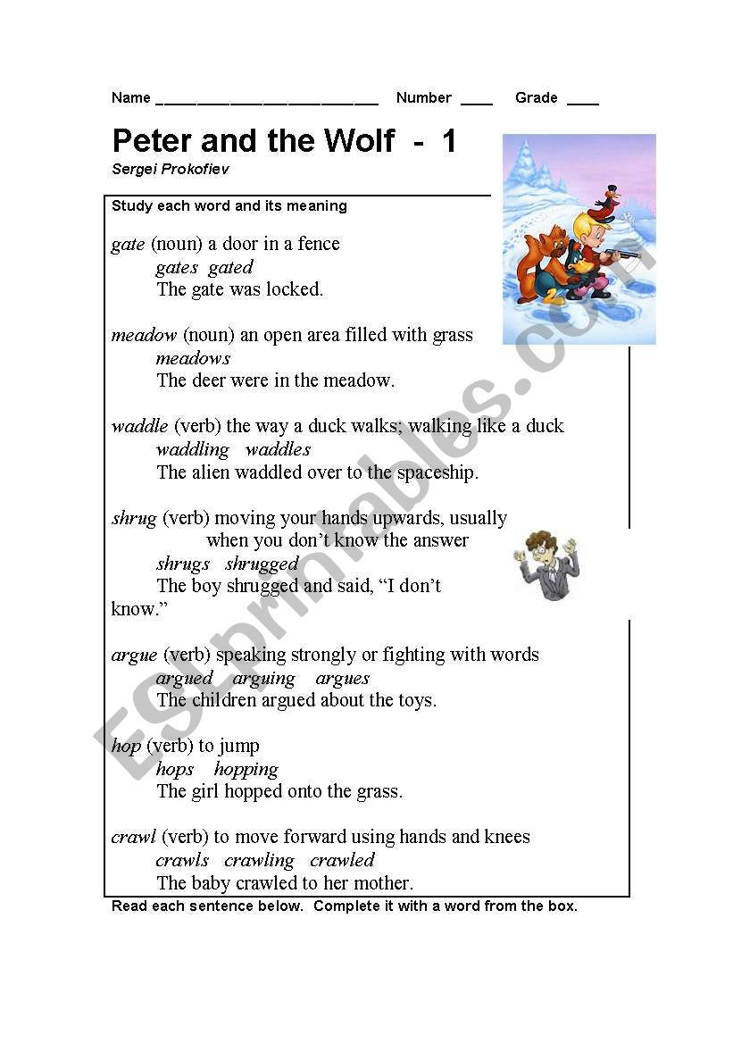 Peter and the Wolf Worksheet Peter and the Wolf Part 1 Esl Worksheet by Teacher Will วิว