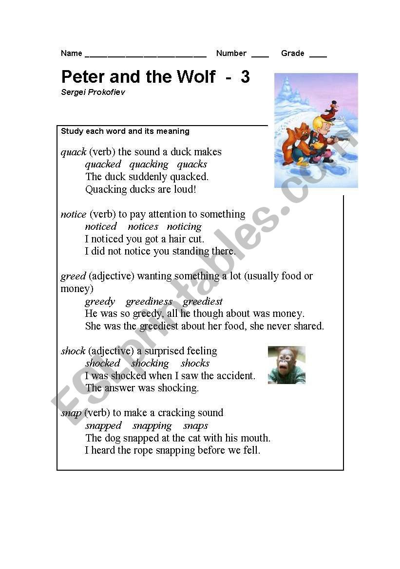 Peter and the Wolf Worksheet Peter and the Wolf Part 3 Esl Worksheet by Teacher Will วิว