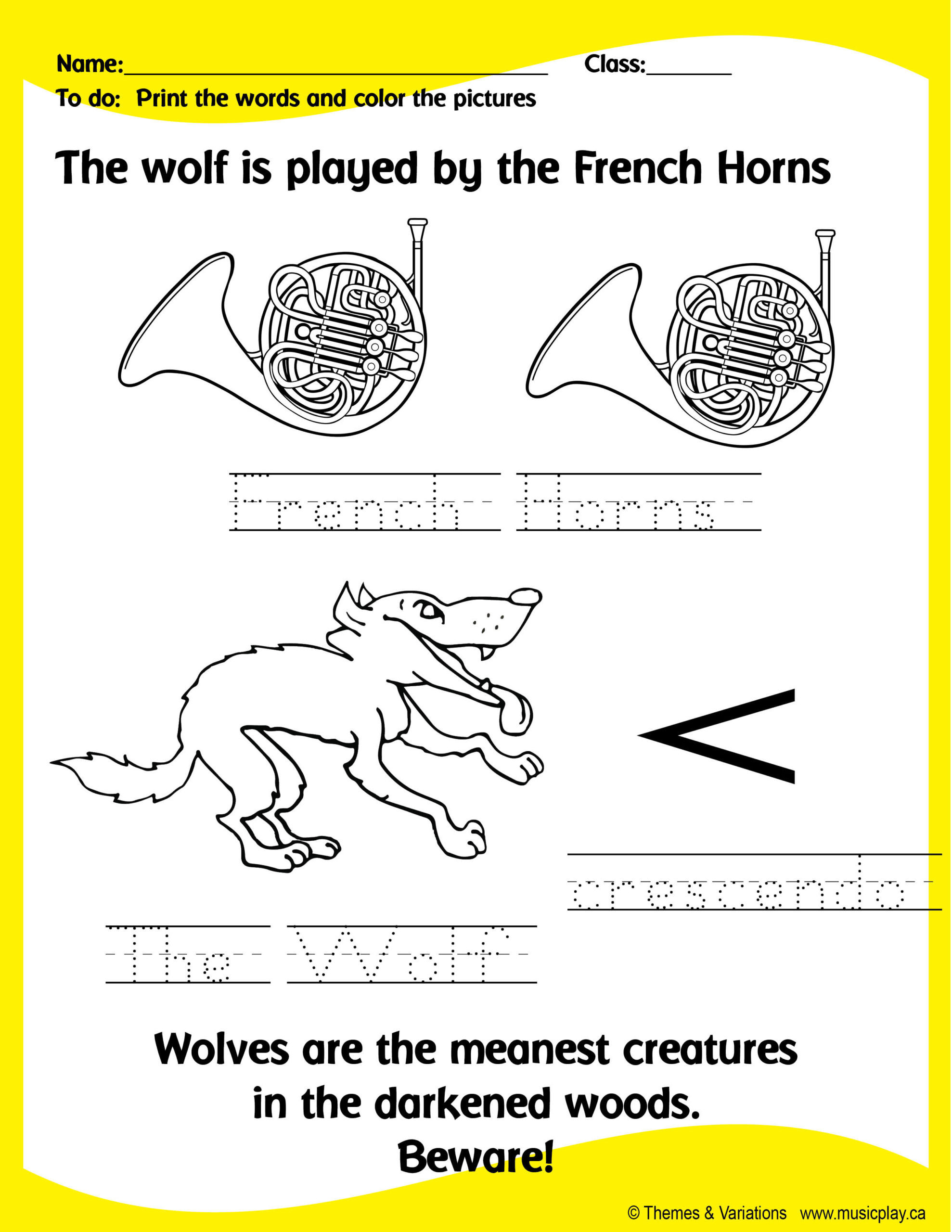 Peter and the Wolf Worksheet Peter and the Wolf Worksheet
