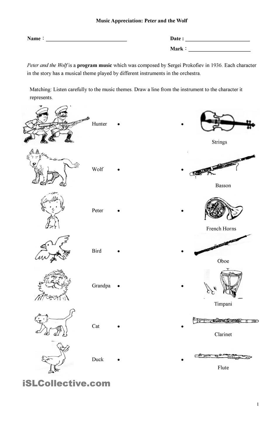 Peter and the Wolf Worksheet Peter and the Wolf Worksheet Peter and the Wolf Esl