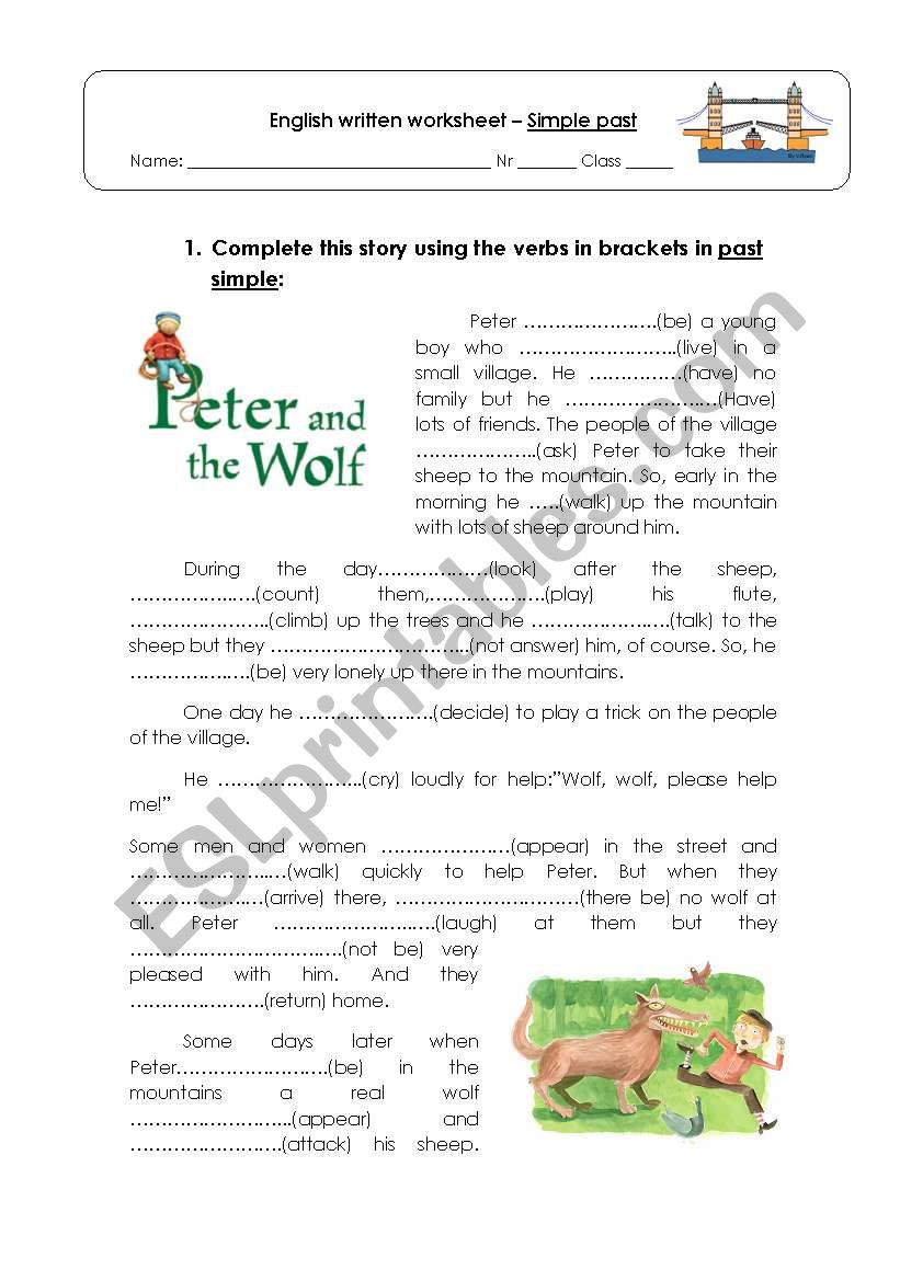 Peter and the Wolf Worksheet Story Peter and the Wolf Esl Worksheet by Danielaoliveira