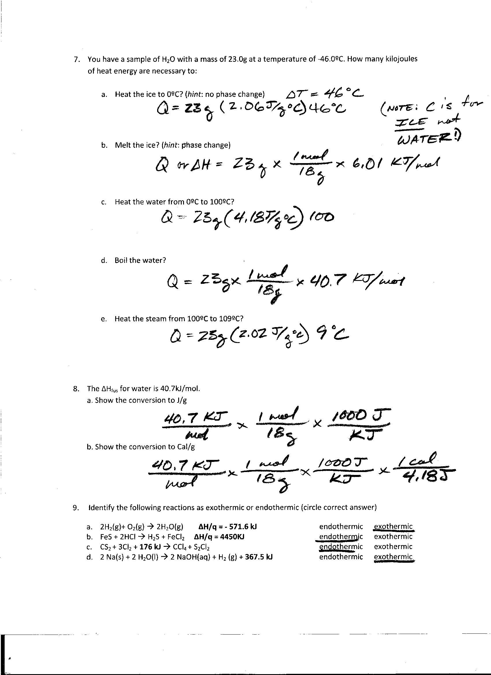 Phase Change Worksheet Answers 72 Types Reactions Worksheet Answers