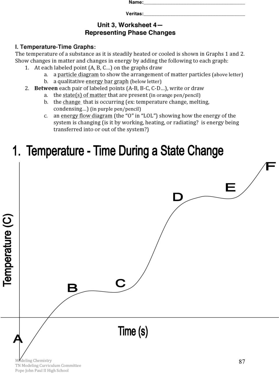 Phase Change Worksheet Answers Chemistry Unit 3 Reading assignment Energy and Kinetic