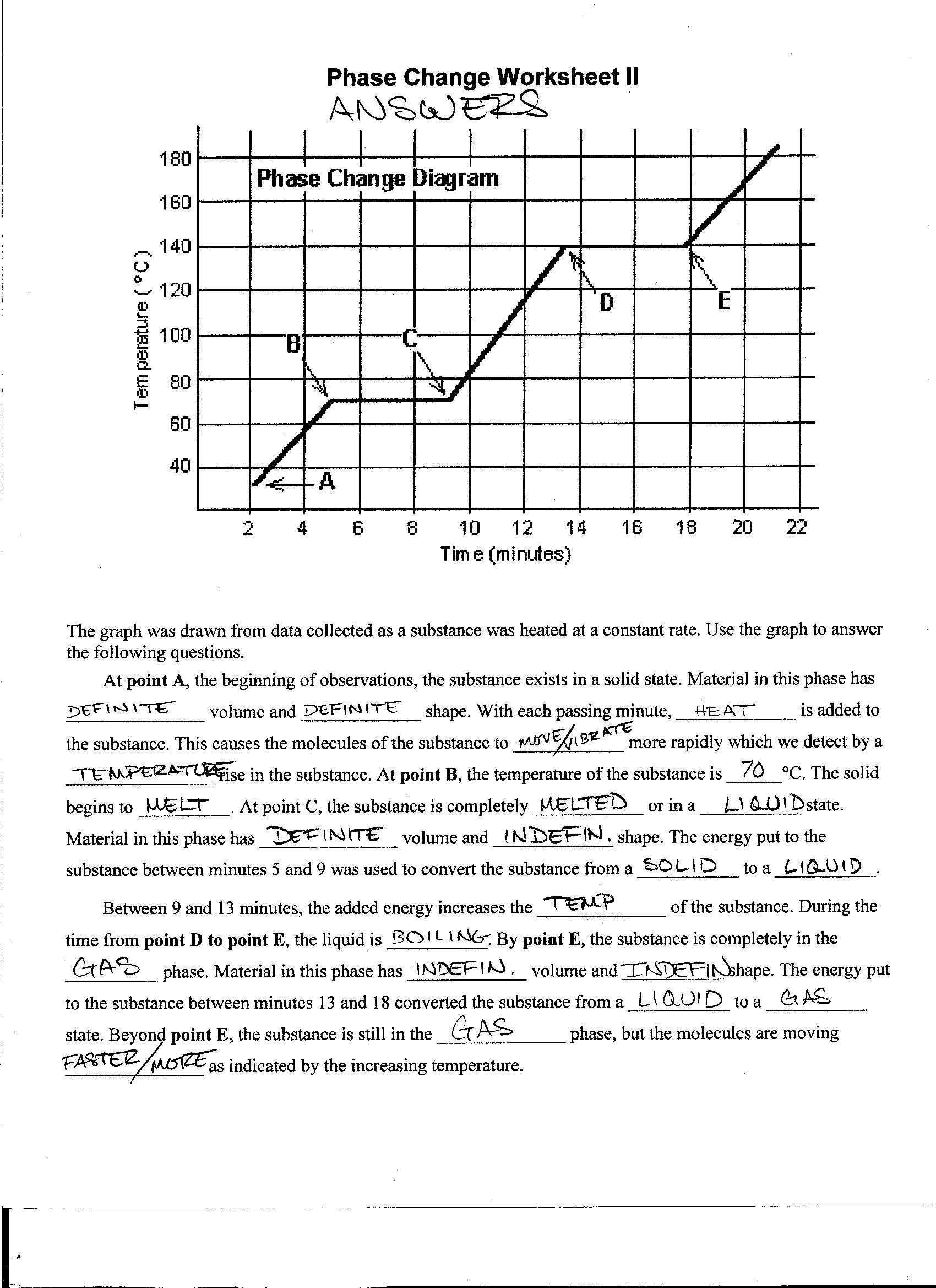 Phase Change Worksheet Answers Foothill High School